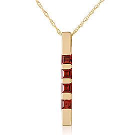 0.35 CTW 14K Solid Gold Necklace Bar Natural Garnet