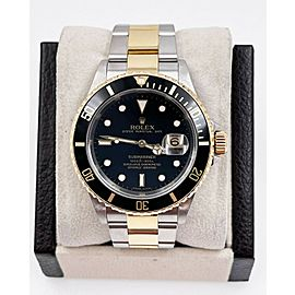 Rolex Submariner 16613 Black Dial 18K Gold Stainless Box Service Paper 2005