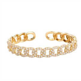 Odelia 18K Yellow Gold with 4.30ctw Diamond Chain Link Open Bangle Bracelet