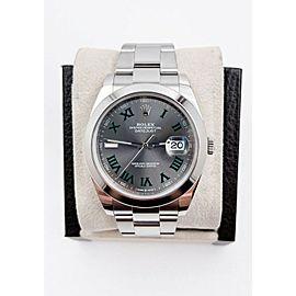 Rolex Datejust 41 Slate Wimbledon Dial 126300 Stainless Steel Box Paper 2020