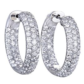 Odelia 18K White Gold with 3.00ct Diamond Hoop Earrings