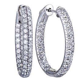 Odelia 18K White Gold with 2.00ct Diamond Hoop Earrings