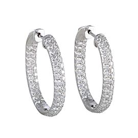 Odelia 18K White Gold with 3.00ct Diamond Pave Earrings
