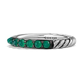 David Yurman 3mm Cable Berries Green Onyx & Sterling Silver Band Ring # 38R, 39R