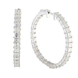 Odelia 18K White Gold with 5.40 Diamond Hoop Earrings