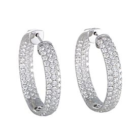 Odelia 18K White Gold with 5.25ct Diamond Hoop Earrings