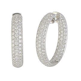 Odelia 18K White Gold Inside with 6.00ct Diamond Hoop Earrings