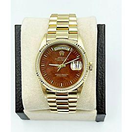 Rolex President Day Date 18038 Wood Walnut Dial 18K Yellow Gold
