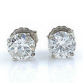 Round Brilliant Diamonds 2.42 tcw Stud Earrings in 14 kt White Gold