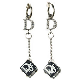 Authentic Christian Dior Logo Dice Design Rhine Stone Earrings Silver Used F/S