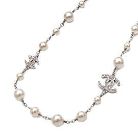 Authentic CHANEL Coco Mark Rhinestone Pearl Long Necklace Silver A19V Used F/S