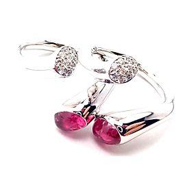 Georg Jensen Carnival 18k White Gold Diamond Pink Tourmaline 2 Stacking Rings