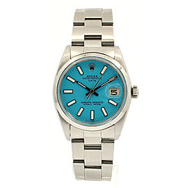 Mens ROLEX Oyster Perpetual Date 34mm Blue Luminescent Dial Steel Watch