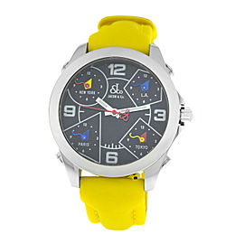 Jacob & Co. Five 5 Time Zone JCM-29 Stainless Steel 40MM Watch Yellow Strap