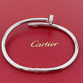 CARTIER Juste un Clou Nail Diamond Bracelet in 18kt White Gold Full Set COA