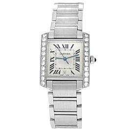 Cartier Tank Francaise 2302 Unisex Diamond Steel Date Automatic 28MM Watch