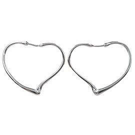 Auth Tiffany&Co. elsa peretti Open Heart Hoop Earrings Small Silver Used F/S
