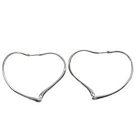 Auth Tiffany&Co. elsa peretti Open Heart Hoop Earrings Medium Silver Used F/S