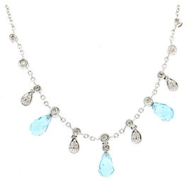 Estate 18k White Gold Tear Drop Blue Topaz & Diamonds Necklace