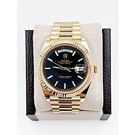 Rolex President 228238 Day Date 40mm Black Motif Dial 18K Yellow Gold Box Paper