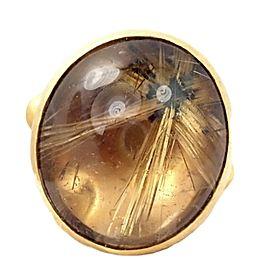 Gurhan Hammered 24k Gold Rutilated Quartz Ring sz 6