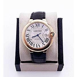Cartier Ballon Blue Ref 2999 WGBB0030 18K Rose Gold Leather Strap