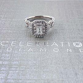 Celebration Grand Ideal 1 1/2 tcw Emerald Diamond Frame Engagement Ring 14kt WG