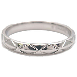 Auth CHANEL Matelasse Ring Small 3P Diamond Platinum #49 US4.5-5 EU49 Used F/S