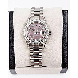 Rolex Ladies President 179159 Mop Diamond Dial Bezel 18K White Gold Box Paper