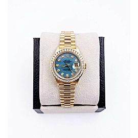 Rolex Ladies President Datejust 79178 Blue MOP Diamond Dial 18K Yellow Gold