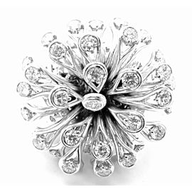 Authentic! Christian Dior 18k White Gold 6.5ct Diamond Large Flower Ring