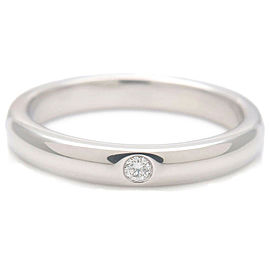Authentic Tiffany&Co. Stacking Band Ring 1P Diamond Platinum US4.5-5 Used F/S