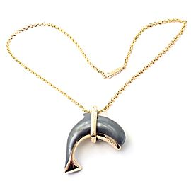 Rare! Authentic Cartier 18k Yellow Gold Hematite Dolphin Pendant Link Necklace