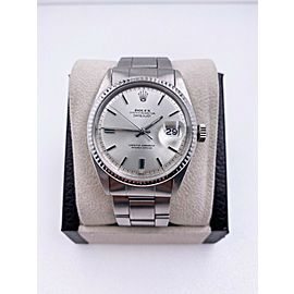 Rolex Datejust 1601 Silver Pie Pan Dial Stainless Steel Watch