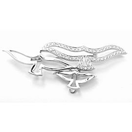 Cartier Bird 18k White Gold Diamond Pendant Pin Brooch