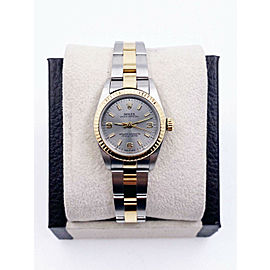 Rolex ladies Oyster Perpetual 76193 Silver Dial 18K Yellow Gold Steel Box Papers
