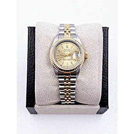 Rolex Ladies Datejust 69173 Champagne Dial 18K Gold Stainless Box Papers Mint