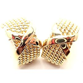 Authentic! Tiffany & Co Jean Schlumberger 18k Yellow Gold 6 Row Rope X Earrings