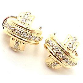 Rare! Authentic Tiffany & Co 18k Yellow Gold Diamond Signature X Earrings