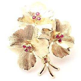 Authentic! Vintage Tiffany & Co 18k Yellow Gold Ruby Flower Brooch Pin
