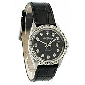 Mens ROLEX Oyster Perpetual Date 34mm Back Dial Diamond Stainless Watch