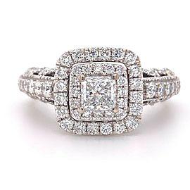 VERA WANG LOVE Princess Diamond 1 1/3 tcw Engagment Ring 14Kt White Gold