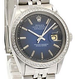 Mens Vintage ROLEX Oyster Perpetual Datejust 36mm Blue Vignette Diamond Watch