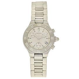 Cartier Chronoscaph 2996 Ladies Steel Chronograph Date 32MM Quartz Watch