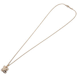 Authentic Tiffany&Co. Signature Cross Diamond Necklace K18 Yellow Gold Used F/S