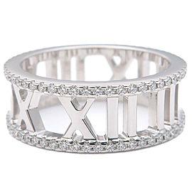 Authentic Tiffany&Co. Atlas Open Full Diamond Ring White Gold US5 EU49 Used F/S