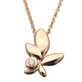 Authentic Tiffany&Co. Olive Leaf 1P Diamond Necklace K18 750 Rose Gold Used F/S