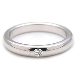 Authentic Tiffany&Co. Stacking Band Ring 1P Diamond Platinum US4.5 EU48 Used F/S