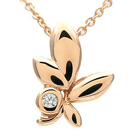 Authentic Tiffany&Co. Olive Leaf 1P Diamond Necklace K18 Rose Gold Used F/S