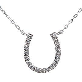 Authentic STAR JEWELRY Horseshoe Diamond Necklace 0.05ct K18 White Gold Used F/S